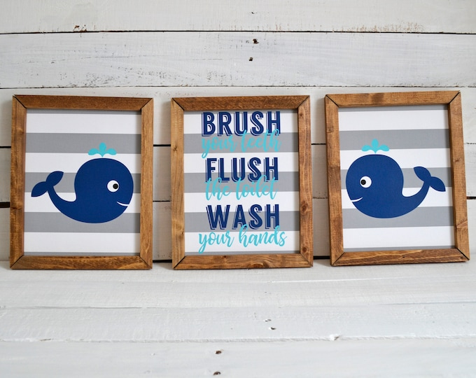 Brush Flush Wash Whales Ocean Themed Kids Bathroom Wooden Framed Canvas Wall Art
