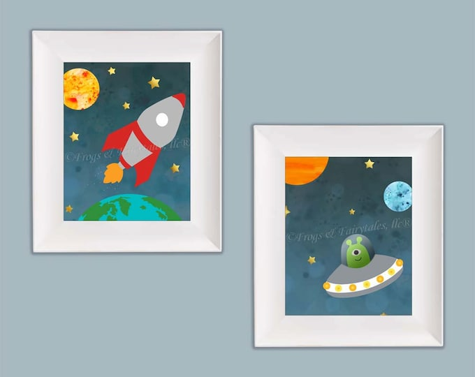 Outer Space Rocket Ship Wall Art Paper Prints, Free Shipping