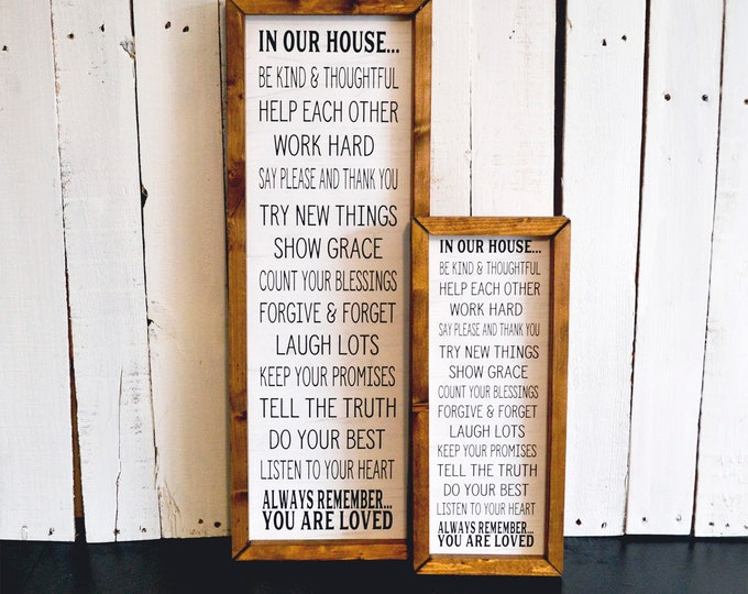 In Our House Rules White and Black Rustic Wooden Framed Canvas Wall Art