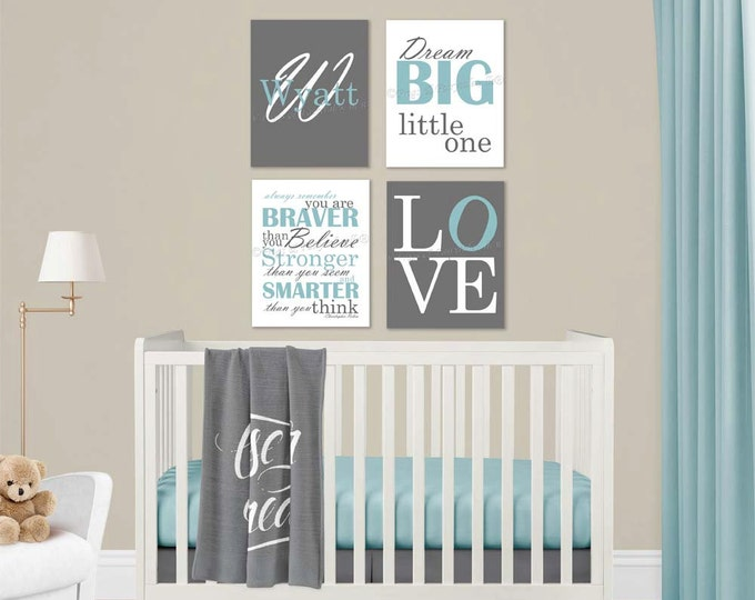 Baby Boy Nursery Blue Canvas Wall Art Love Dream Big Name Christopher Robin Quote