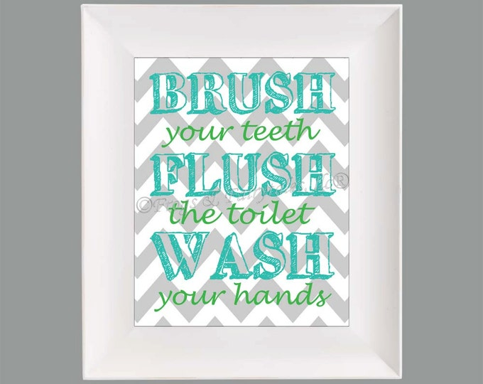 Brush Flush Wash Chevron Bathroom Paper Print Wall Art Free Shipping