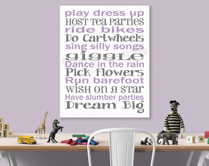 Play Dress Up Dream Big Purple Grey Canvas Wall Art Typography Print