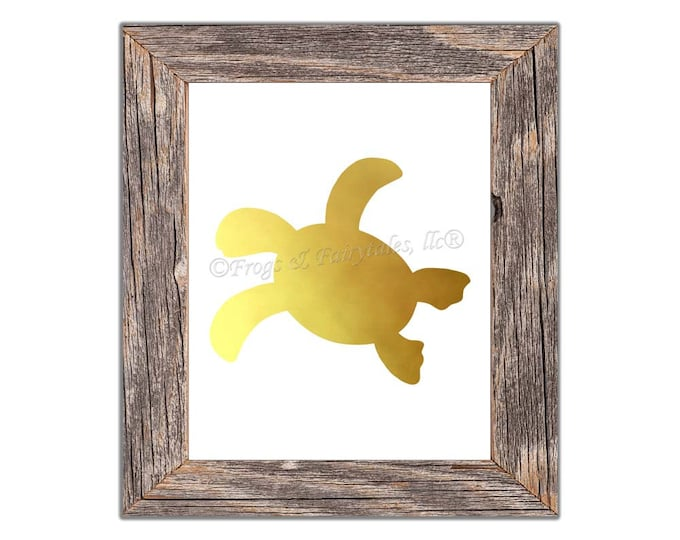 Sea Turtle Silhouette Gold Photo Paper Print, Free Shipping