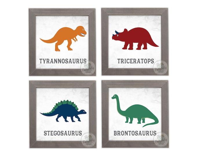 Dinosaurs Rustic White Wooden Framed Print Set