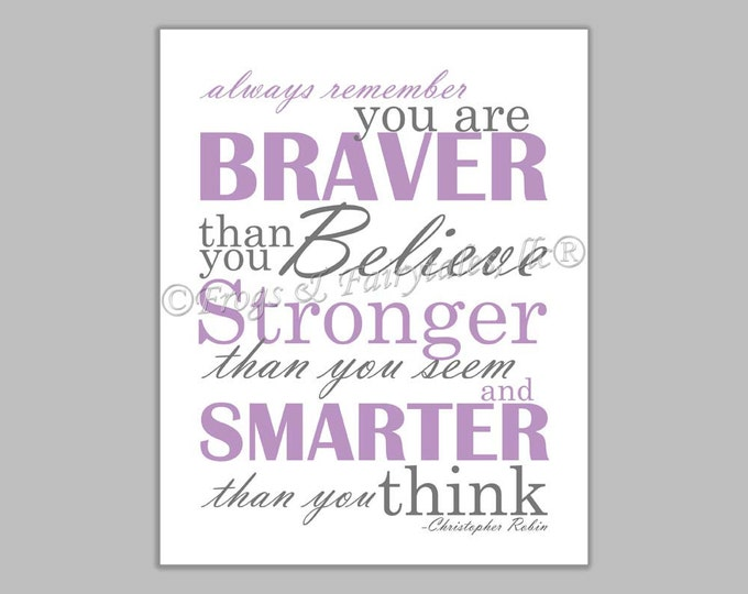 Christopher Robin Always Remember You are Braver Than You Believe Purple Gray Canvas Wall Art Print