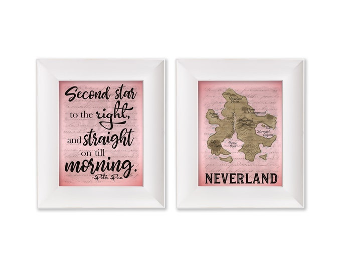Second Star to the Right Neverland Map Pink Print Set Digital Download