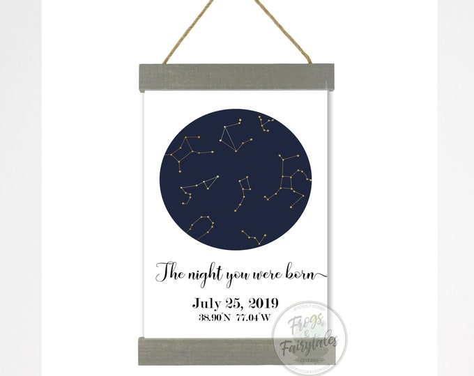 The Night You Were Born Customized Constellations Hanging Canvas Wall Art