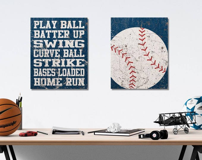 Baseball Vintage Weathered Wall Art Canvas Prints