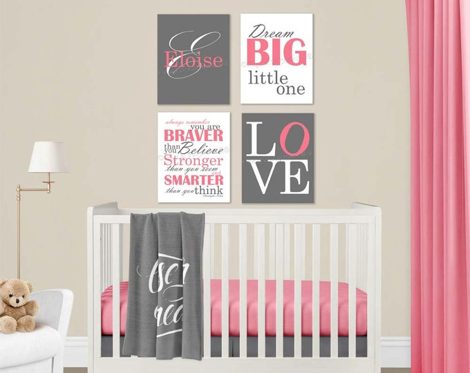 Baby Girl Nursery Pink Grey Canvas Wall Art Love Dream Big Name Christopher Robin Quote