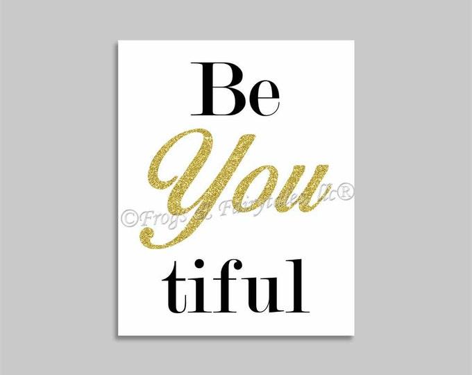 Be You Beautiful Canvas Print Wall Art Gold Glitter