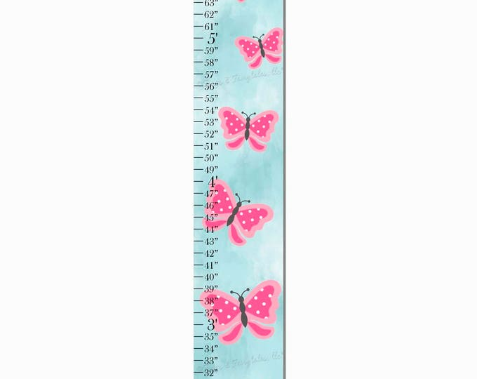 Pink Butterfly Aqua Watercolor Canvas Growth Chart Print Height Chart Ruler