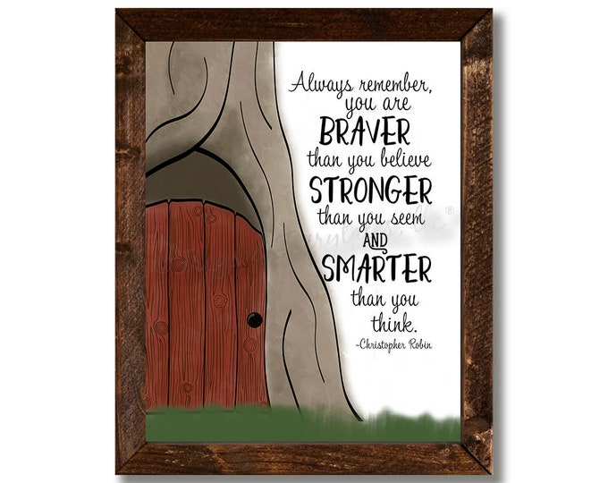You Are Braver Than You Believe 100 Acre Woods Winnie The Pooh Nursery Wooden Framed Canvas Print
