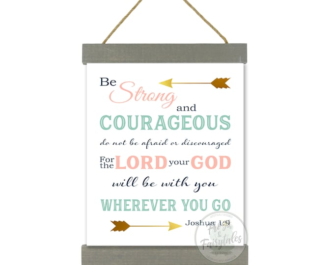 Joshua 1:9 Be Strong and Courageous Coral Mint Green Navy Gold Hanging Canvas Wall Art