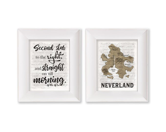 Second Star to the Right Neverland Map White Print Set Digital Download