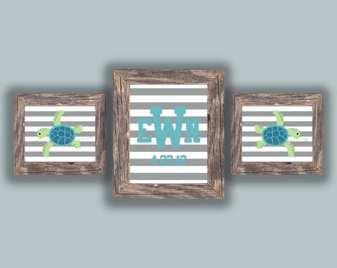 Personalized Monogram Sea Turtle Striped Photo Paper Print Wall Art, Free Shipping