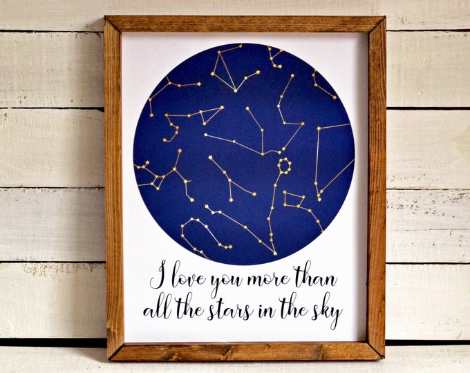 I Love You More Than All the Stars in the Sky Constellations Wooden Framed Canvas Print