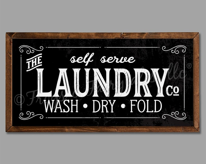 "The Laundry Co 24""x12"" Vintage Black Laundry Room Sign Wooden Framed Canvas Print"