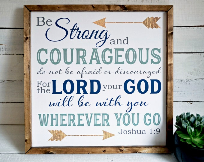 Joshua 1:9 Be Strong and Courageous Navy Grey Green Rustic Gold Framed Canvas Wall Art
