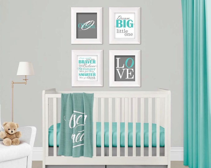 Personalized Wall Art in Aqua and Gray Photo Paper Prints Free Shipping