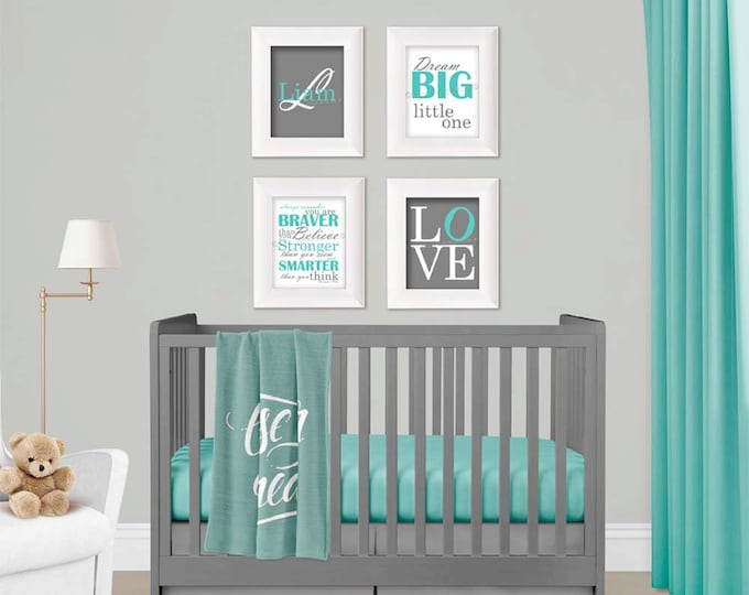 Personalized Wall Art in Aqua and Grey Photo Paper Prints, Free Shipping