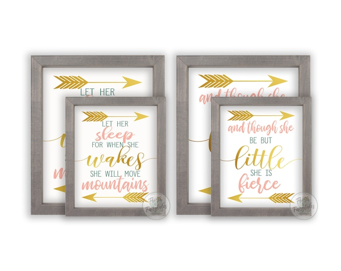And Though She Be But Little Let Her Sleep for When She Wakes She Will Move Mountains Wooden Framed Wall Art Prints