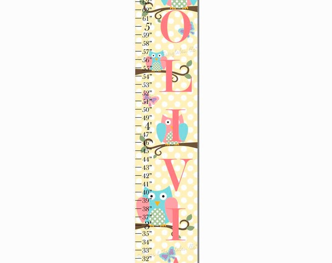 Owls and Butterflies Polka Dot Print Canvas Growth Chart Ruler