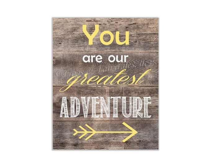 You Are Our Greatest Adventure Yellow Wood Canvas Wall Art Print