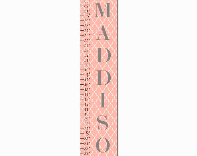 Damask Pattern Coral Canvas Growth Chart Print, Height Chart, Ruler