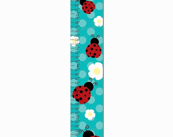 Ladybug Teal Polka Dot Flower Canvas Growth Chart Print Height Chart Ruler