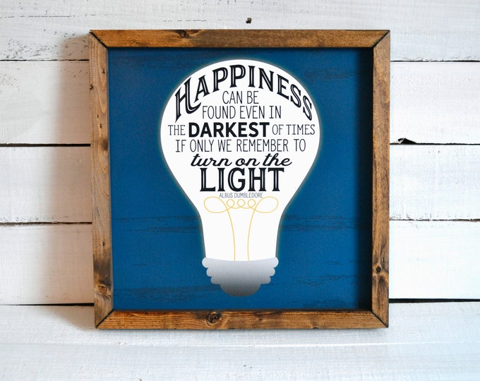 Happiness Can Be Found Even n the Darkest of Times Rustic Blue Wooden Framed Canvas Wall Art