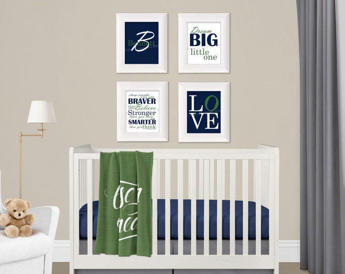 Personalized Wall Art in Navy and Green Photo Paper Prints, Free Shipping