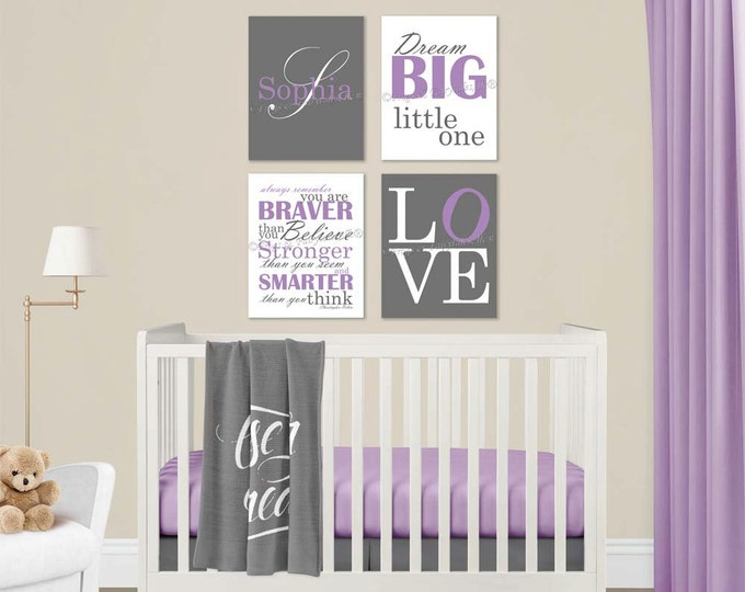Baby Girl Nursery Purple Grey Canvas Wall Art Love Dream Big Name Christopher Robin Quote