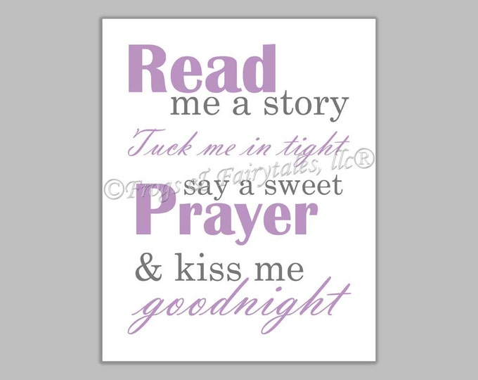 Read Me a Story Tuck Me in Tight Say a Sweet Prayer and Kiss Me Goodnight purple gray canvas print wall art