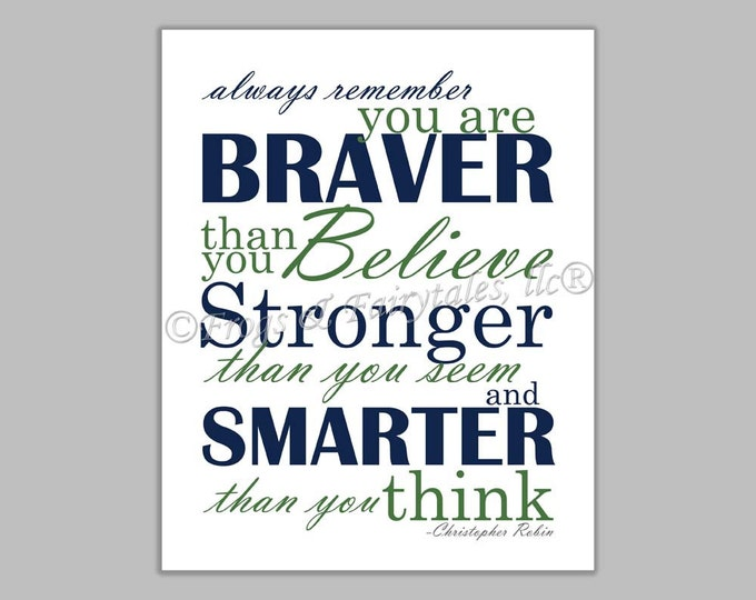 Christopher Robin Always Remember You are Braver Than You Believe Navy Green Canvas Wall Art Print