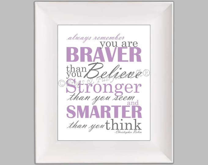 Christopher Robin Always Remember You are Braver Than You Believe Purple Gray Paper Print Wall Art Free Shipping