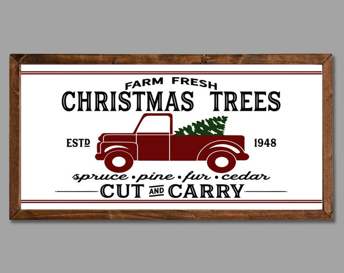 Christmas Tree Farm Vintage Red Truck Sign Wooden Framed Canvas Print