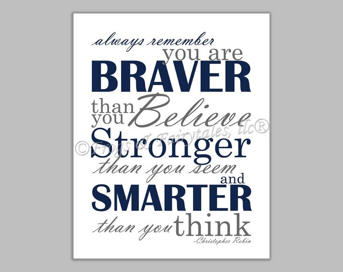 Christopher Robin Always Remember You are Braver Than You Believe Navy Gray Canvas Wall Art Print