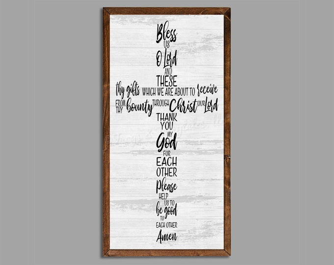 """Bless Us Oh Lord Rustic Dinner Prayer 18""""x36"""" Dinning Room Sign Wooden Framed Canvas Print"""