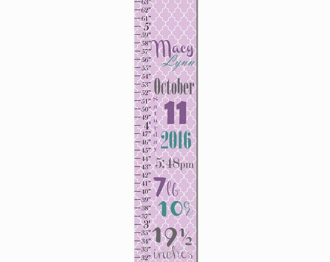 Birth Information Purple Round Damask Print Canvas Growth Chart, Height Chart, Ruler