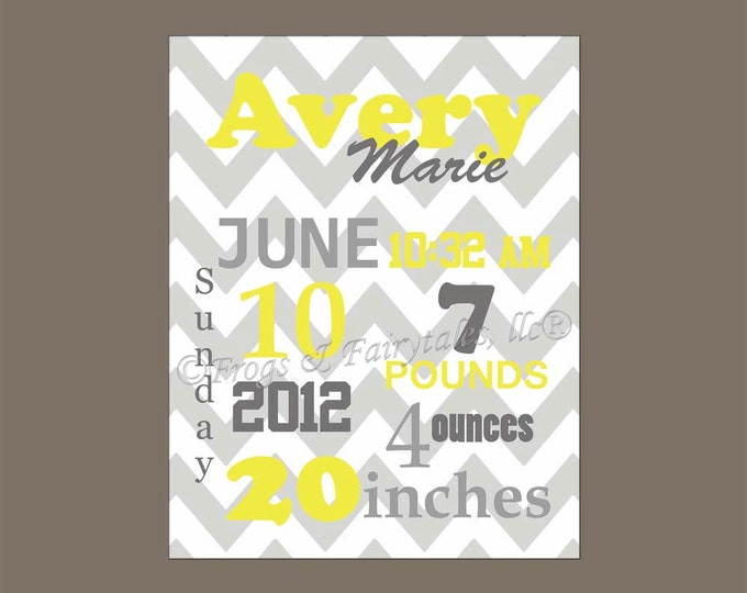 Yellow Gray Chevron Birth Information Canvas Wall Art Print