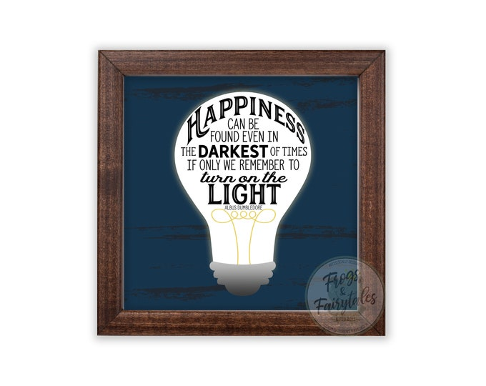 Happiness Can Be Found Even n the Darkest of Times Rustic Blue Wooden Framed Wall Art