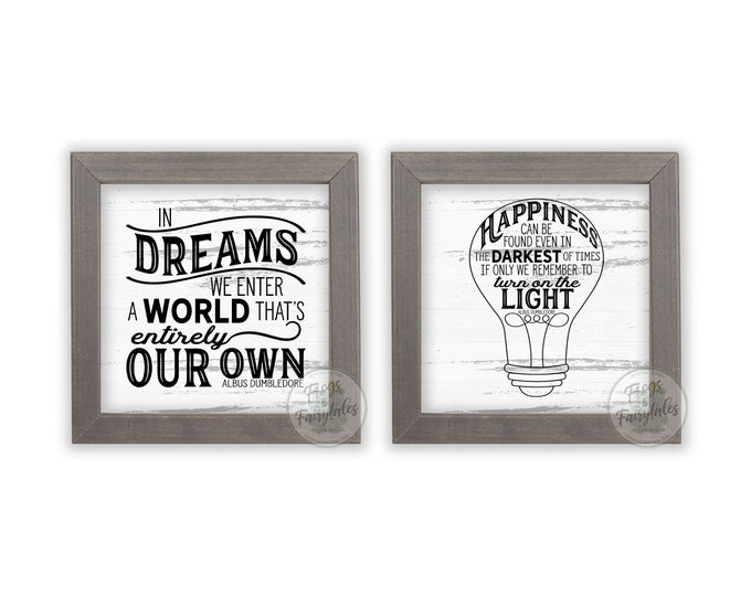 Happiness Can Be Found and In Dreams We Enter Rustic White and Black Wooden Framed Print Set