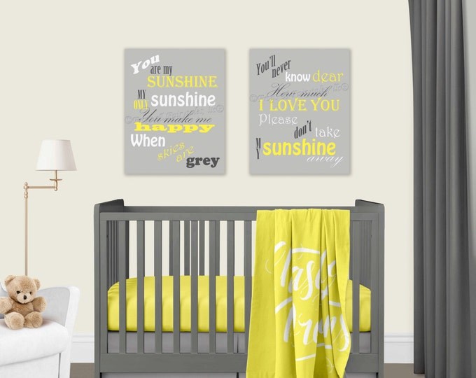 You Are My Sunshine Yellow and Gray Canvas Print Set