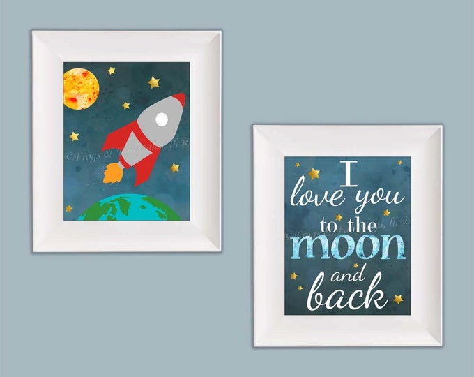 Outer Space Rocket Ship I Love You to the Moon and Back Wall Art Photo Paper Prints Free Shipping