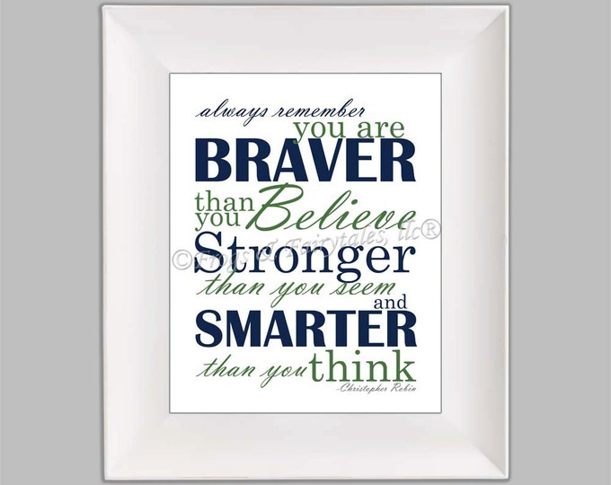 Christopher Robin Always Remember You are Braver Than You Believe Navy Green Paper Print Wall Art Free Shipping