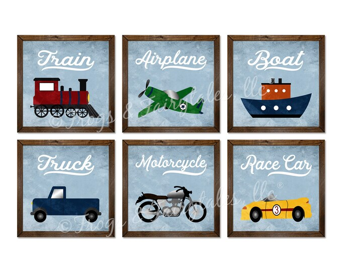 Transportation Themed Vintage Blue and White Rustic Wooden Framed Canvas Wall Art Set