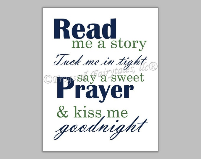 Read Me a Story Tuck Me in Tight Say a Sweet Prayer and Kiss Me Goodnight navy green canvas print wall art