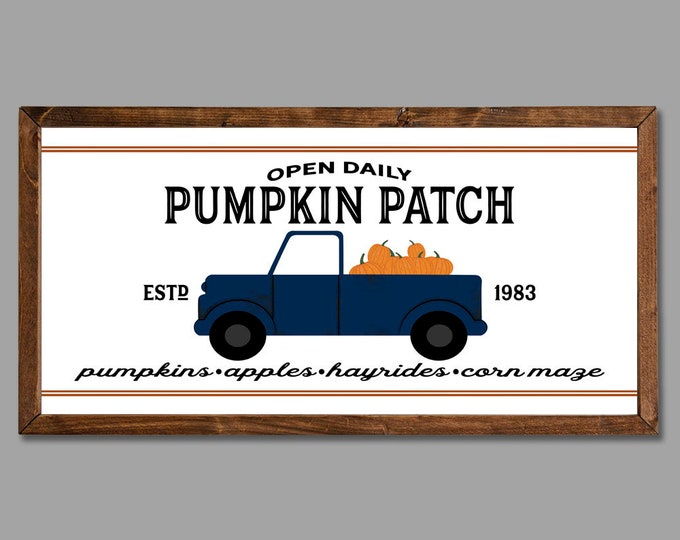 Pumpkin Patch Fall Autumn Vintage Sign Rustic Wooden Framed Canvas Wall Art
