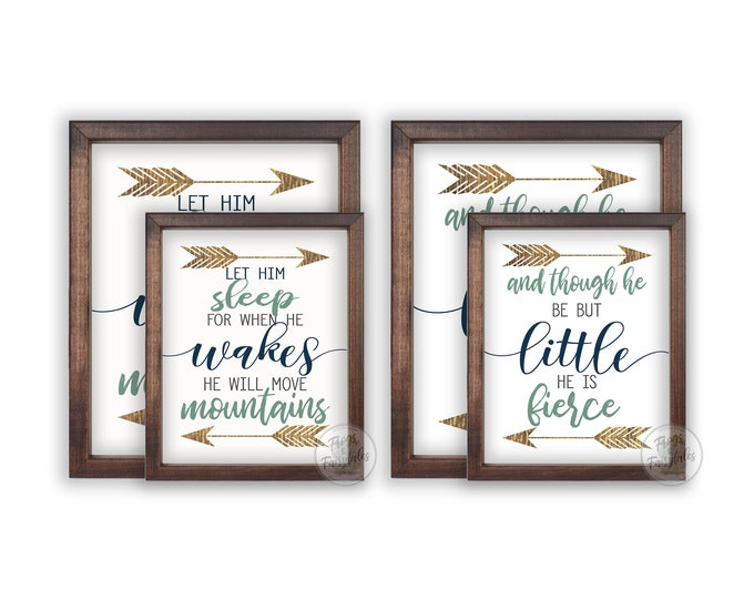 And Though He Be But Little Let Him Sleep for When He Wakes He Will Move Mountains Wooden Framed Wall Art Prints