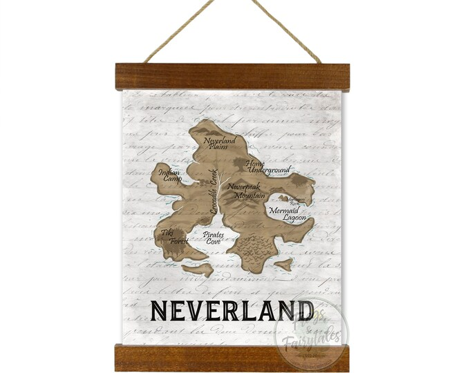 Neverland Map White Hanging Canvas Wall Art